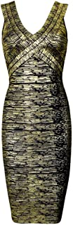 HLBandage Rayon Women V Neck Metallic Foil Print Bandage Dress