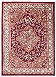Traditioneller Klassischer Teppich für Ihre Wohnzimmer - Rot Creme Beige - Perser Orientalisches Heriz Keshan Muster - Blumen Ornamente - Top Qualität Pflegeleicht ' AYLA ' 200 x 300 cm Groß