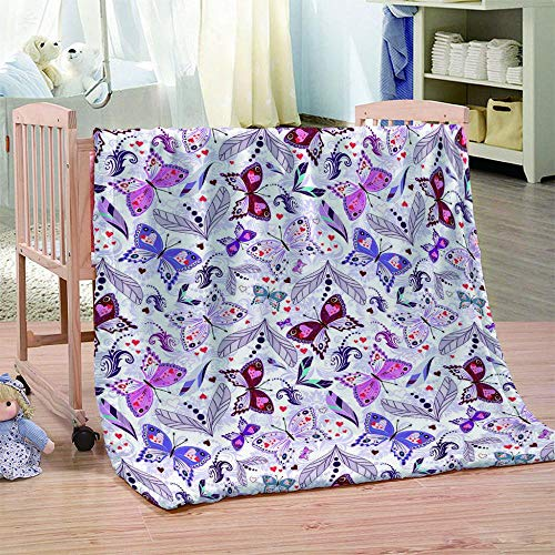 DHYYQX 3D Butterfly Leaf Flannel Blanket Throw Blanket for Kids Children Adults Air Conditioning Blanket Nap Blanket 53x59 Inches(135x150cm) for Home Bed, Sofa Soft Warm Lightweight
