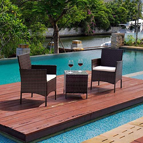 DNNAL Conjuntos de Muebles de Porche del Patio, 3 Piezas PE Rattan Sillas de Mimbre con Mesa de Muebles de jardín al Aire Libre Conjuntos de jardín Silla de ratán