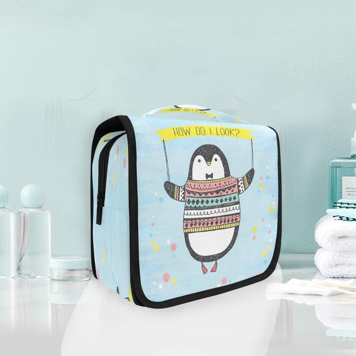 Blue Funny Penguin Hanging Foldable Bag Makeup Arlington Mall Toiletry Washington Mall Cosmetic