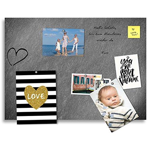 Cuadros Lifestyle Markerboard/Magnettafel/Whiteboard aus Acrylglas | Steinoptik | Schiefer | inkl. Boardmarker und 10 Supermagneten, Größe:70x50 cm