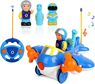 BeebeeRun Blue Cartoon Airplane Cars,2-Channel Remote Control Airplane Vehicle Toys with Music and Lights Learning Educational Toy for Kids Boys Girls Age 3+