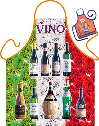 Wein Motiv Kochschürze Italien italienischer Wein Schürze : Vino-Flaschen Tricolore -- Themenschürze mit Minischürze für Flaschen