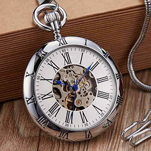 J-Love Reloj de Bolsillo mecánico automático de Oro de Lujo Relojes de Cobre Retro Números Romanos Colgantes Hombres Mujeres
