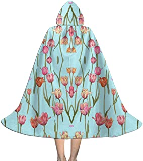 Holland Tulips On Tiffany Blue Wallpaper (8133) Kids Hooded Cloak Cape for Christmas Halloween Cosplay Costumes