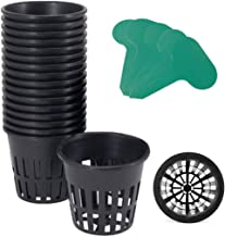 GROWNEER 25 Packs 3 Inch Net Cups Slotted Mesh Wide Lip with 10Pcs Plant Labels Heavy Duty Filter Plant Net Pot Bucket Bas...