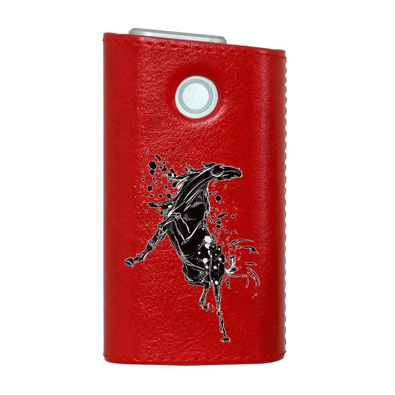 侮辱巻き取り省略glo グロー グロウ 専用 レザーケース レザーカバー タバコ ケース カバー 合皮 ハードケース カバー 収納 デザイン 革 皮 RED レッド 馬 動物 アニマル 014073