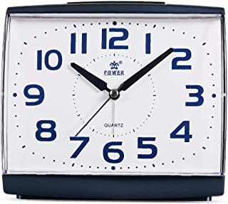 POWER Large Size Non Ticking Household Alarm Clock for Bedrooms with Light and Snooze,Battery Operated Quartz Analog Quiet Alarm Clock(Blue)
