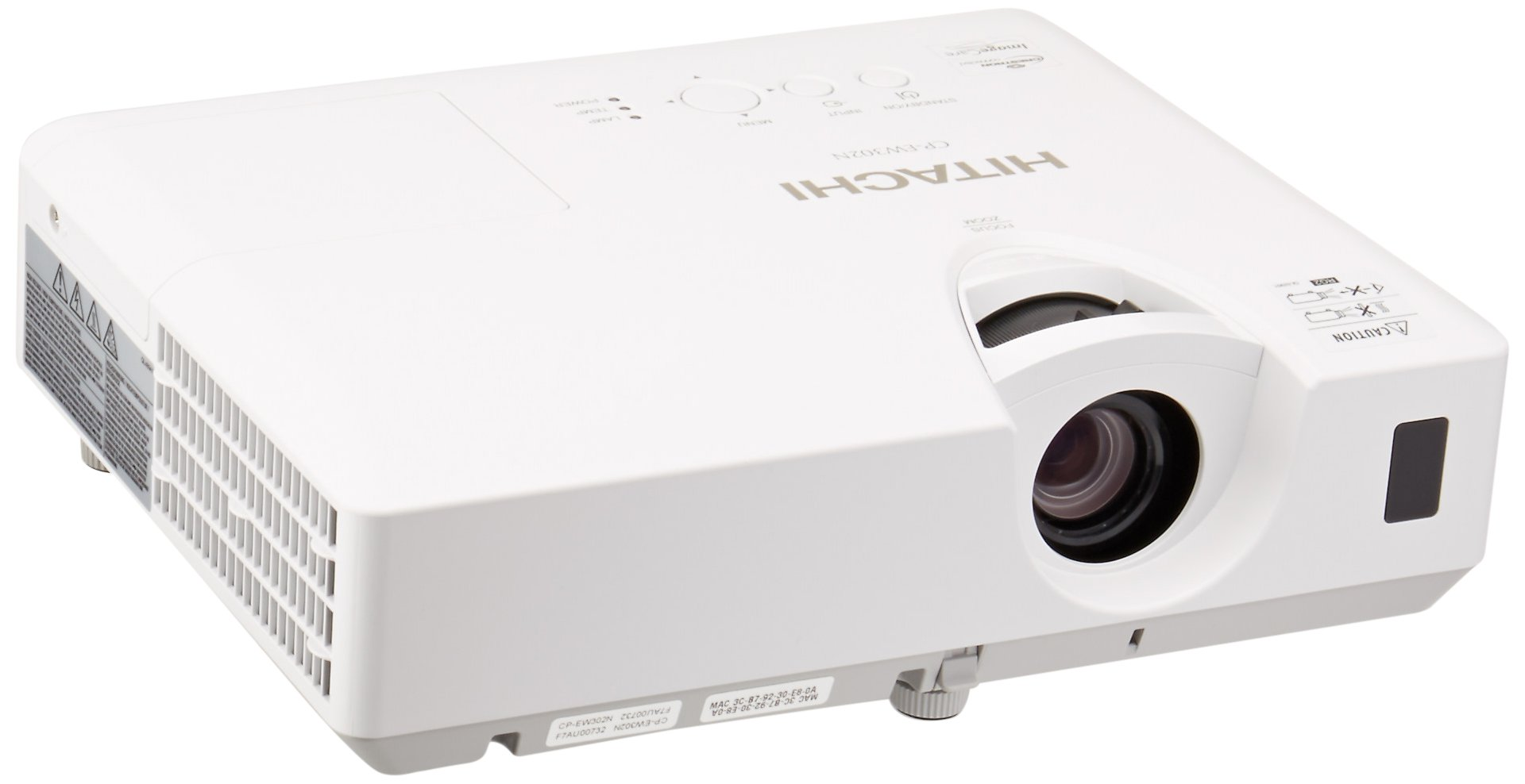 Hitachi CP-EW302N LCD Projector, 3000 ANSI Lumens White/color output, WXGA 1280 x 800 Resolution, 16W Audio Output, One HDMI Input, 10000 Hours Lamp Life, Embedded Networking, PIN Lock Protection