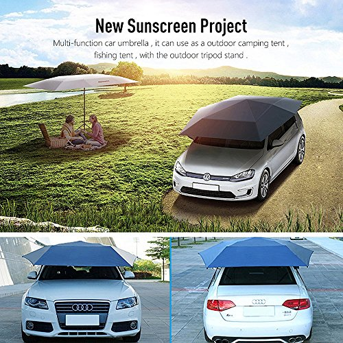 AICase Car Tent Umbrella, Automatic 4.5M Anti-UV Car Tent Movable Carport Folded Portable Automobile Protection Car Umbrella Sunproof Sun Shade Canopy Cover Universal(Automatic and Manual 2 in 1)