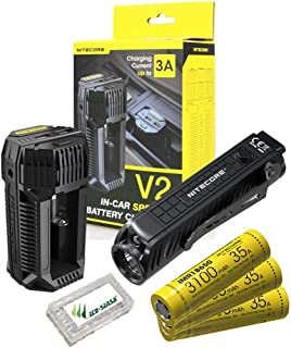 Value Bundle: NITECORE P18 Unibody Die-cast Futuristic Tactical Flashlight -1800Lumens -1x IMR18650 Battery Included with V2 In-car Charger, Extra 2x IMR18650 Batteries & Eco-Sensa Battery Case