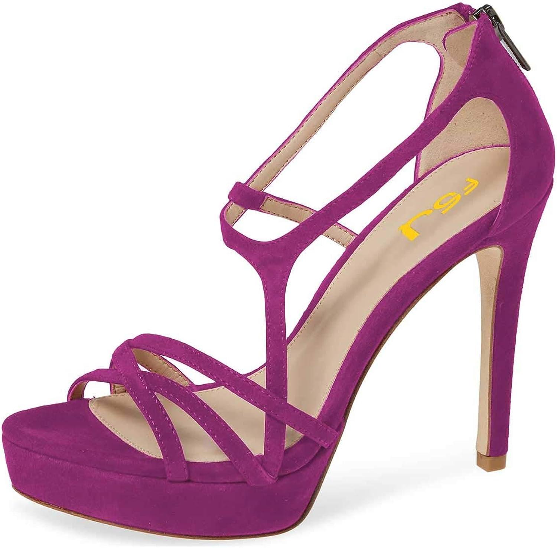 FSJ Women Strappy Open Toe Platform High Heels Caged Dress Sandals Cutout Party Stiletto Pumps Size 4-15 US