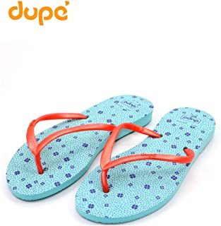 Dupe Turquoise Printed Flip Flop Thong Design Slipper for Women