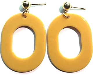Worry-Free Shopping 14K Glold-Palted Oval Hoop Big Plastic Stud Earring