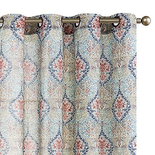 Medallion Linen Blend Curtains for …