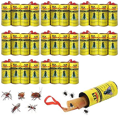 Hilloly 32 stycken – flugfångare som är miljövänliga och giftfria flugfångare rullar, insektsfångare inklusive häftstift för hängande flygfälla för flugor, fruktflugor och fruktflugor av alla slag