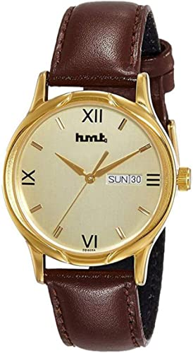 Golden Dial Day n Date Display Brown Leather Starp Analogue 1580 Wrist Watch for Men Boys s Q 557