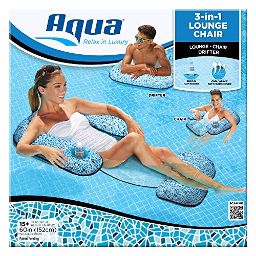Aqua Patent Pending 3-in-1 Pool Lounge Chair (Lounge Chair Drifter), Inflatable Pool Float, and Durability, Sunbathe and Recline in Style