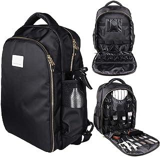 Barber backpack-hair stylist suitcase, multifunctional backpack cosmetic storage box waterproof storage bag electric clipper box backpack storage bag, outdoor travel portable hair backpack (Black)