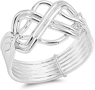 Prime Jewelry Collection Sterling Silver Shiny Women's Puzzle Knot Ring (Sizes 5-13)
