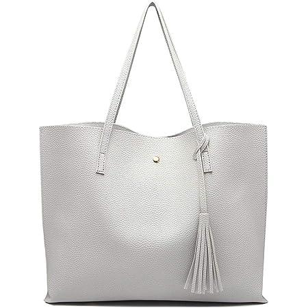Miss Lulu Damen Vintage Tote Beutel Schultertasche Handtasche Shopper Taschen Henkeltasche (Grau)