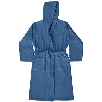 Taglia - XL, Blu Accappatoio con Cappuccio in Spugna 100/% Cotone Tinta Unita Uomo Donna Unisex