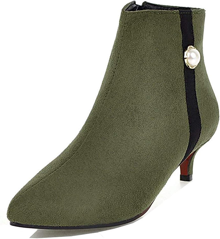 Women's Kitten Heel Ankle Booties - Dressy Beaded Stiletto Inside Zip Up - Pointed Toe Short Boots Zipper