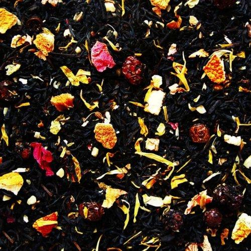 Schwarzer Tee lose Sylter Wintertee Mandeln, Orangen Johannisbeeren, Kokosnussflocken, Pfingstrosenblüten, Ringelblumen, Anis Schwarztee 100g
