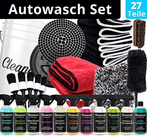 PREMIUM Profi Auto Reinigungsset [27 Teile] – Umfassendes Autopflege Set – Alles für die Reinigung und Pflege deines Autos - Autowasch, Auto Putz Set, Autoreinigung