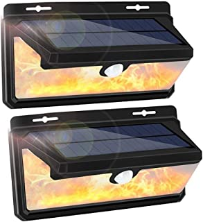 Solar Lights Outdoor, LEDMEI 2-Pack Solar Motion Sensor Lights Waterproof IP65 270 Wide Angle Solar Powered Security Wireless Wall Lights with Flame LED Bulb for Garage Garden Driveway Backyard