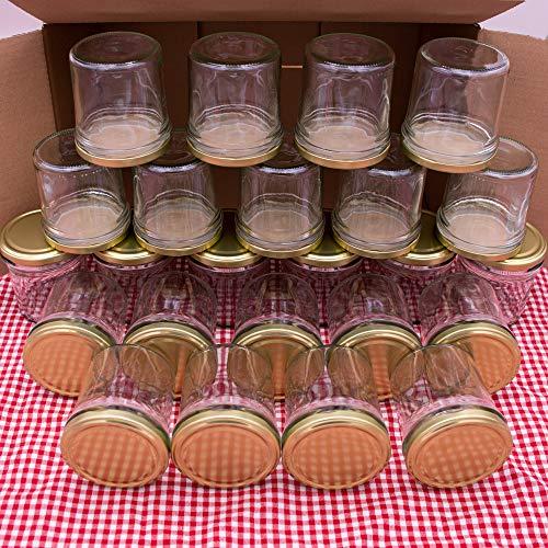 flaschenbauer.de 24er Set Sturzgläser 340 ml inkl. goldene Twist Off Deckel TO82 zum Einmachen von Suppen, Babynahrung, Dips oder zur Aufbewahrung von Tee und Kräuter