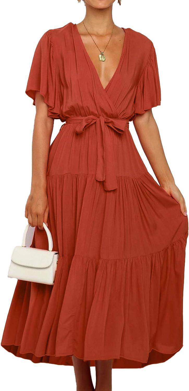 Max 64% OFF SHIBEVER Women's Maxi Dress Summer V Waist Tie Chiffon Ruff Neck High order