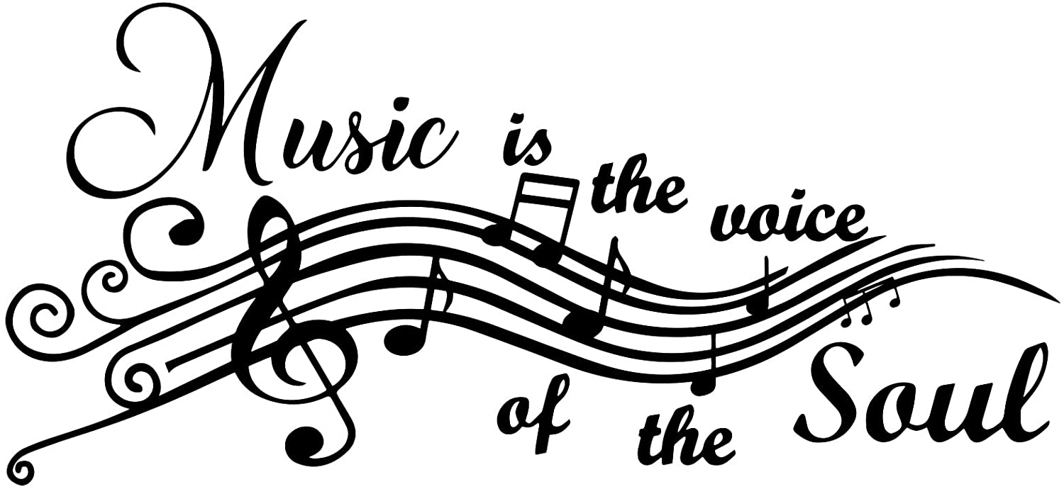 Music is The Voice of The Soul Vinyl Wall Decals Quotes Sayings Music Symbols Words Arts Lettering for Music Room