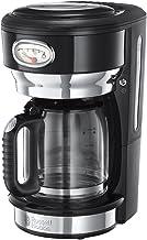 Russell Hobbs 21701-56 Retro Cam Karaflı Kahve Yapma Makinesi, 1.25lt 10 fincan, Paslanmaz Çelik Plastik Aksam, Siyah