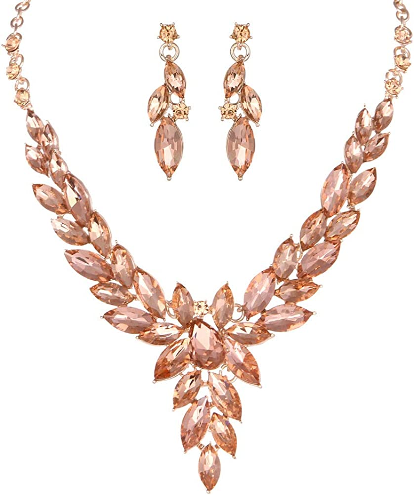 Molie Crystal Necklace Earrings Jewelry Sets for Bridal Bridesmaids Wedding Party