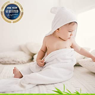 Best Holiday Deal - Organic bamboo hooded towel by Nushaa - Ultra soft for kids and babies great absorbent towel