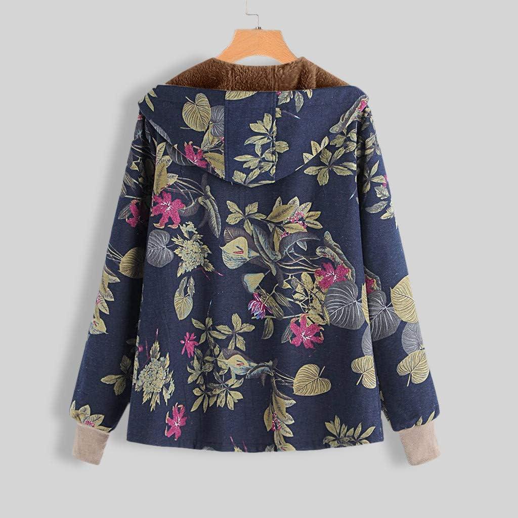 WUAI-Women Casual Winter Warm Thicken Sherpa Fleece Lined Floral Printed Zip Up Hooded Sweatshirt Jacket Coat Plus Size