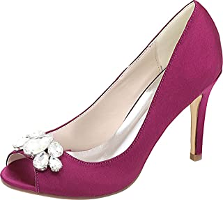 Vimedea Womens Heeled Round Toe Slip On Dress Pumps Ankle Straps Wedding Lace 5623-12B