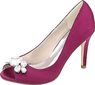 Vimedea Womens Heeled Round Toe Slip On Dress Pumps Ankle Straps Wedding Lace 5623-12B