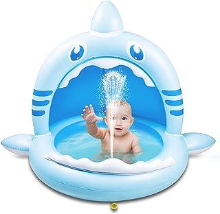 Weokeey Baby Pool mit Dach, Hai Baby Planschbecken als Sonnenschutz Baby Schwimmbecken mit Wasserspray Babypool für Balkon, Garten, Dusche, Terrasse, 160x115x110 cm