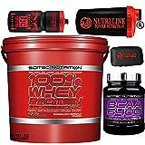 Scitec Nutrition 100% Whey Protein Professional 5 kg Proteína del suero de leche 5 kg + 375 aminoácidos ramificados Bcaa 6400 + Coctelera Nutriline pastillero y botella (chocolate y avellana)