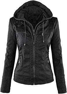 Women's Faux Leather Jacket Removable Hoooded Leather Jackets for Women