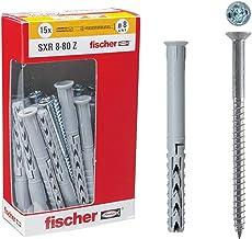 Fischer 509743 lange pluggen SXR 8 x 80 mm met schroeven, set van 15, grijs