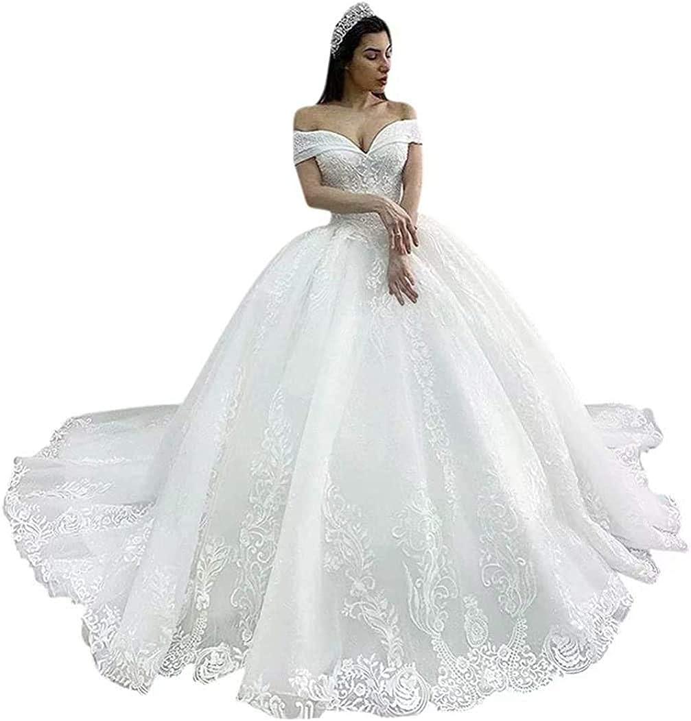 Melisa Off The Shoulder Corset Lace Sequins Bridal Ball Gowns Train Long Princess Wedding Dresses for Bride
