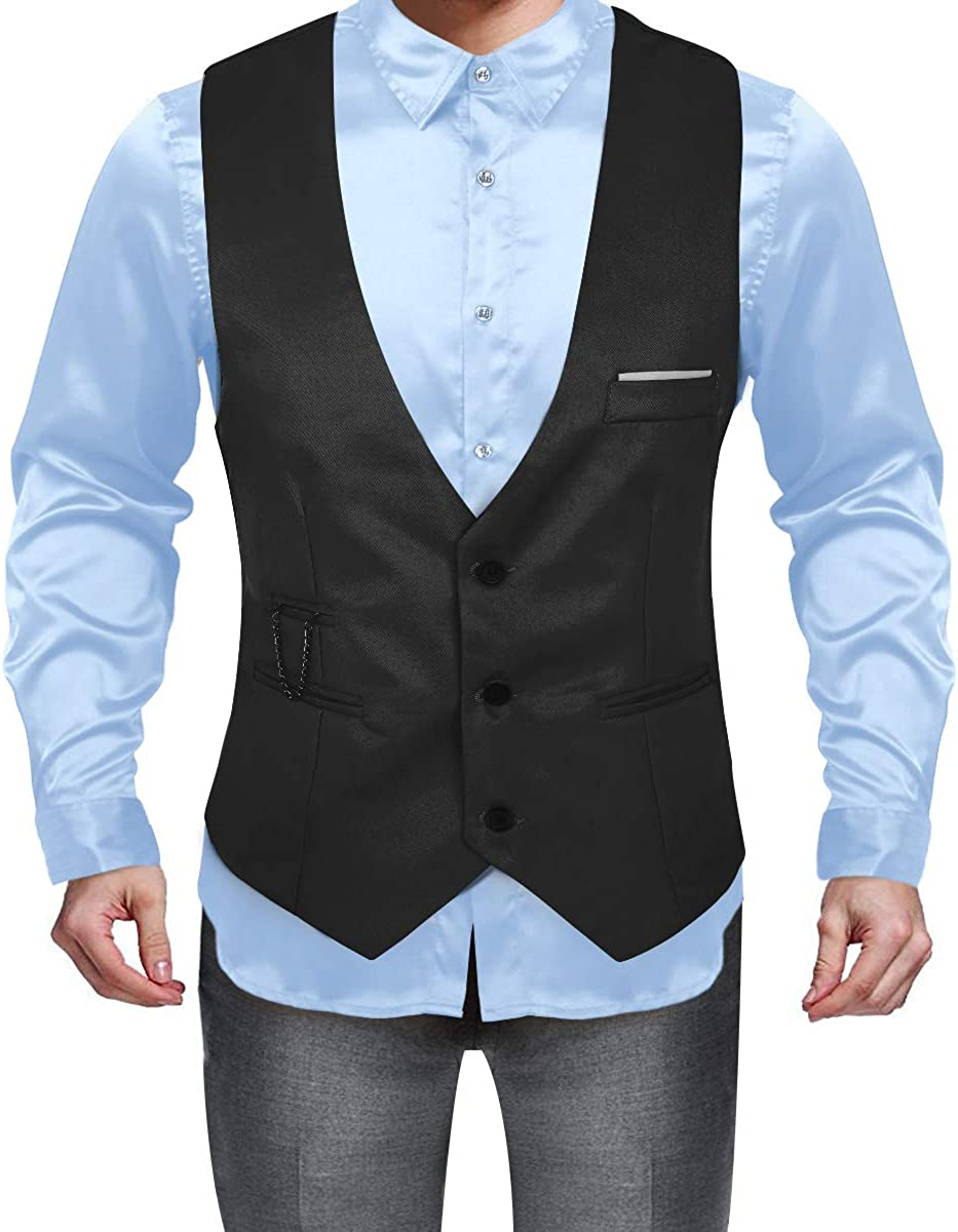 TiaoBug Men's Slim Fit Suit Vests V-Neck Formal Business Sleeveless Suit Separate Waistcoat