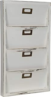 Everly Hart Collection Distressed White Mail Organizer Letter Bin Decor or Wall Art
