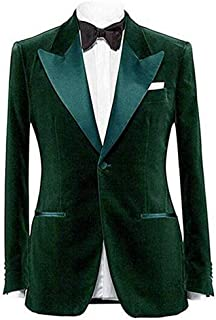 Men's Notch Lapel One Button Velvet Blazer Prom Party Jacket Wedding Dinner Tuxedos