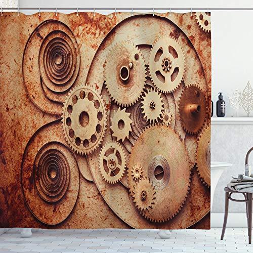 ABAKUHAUS Wijnoogst Douchegordijn, Mechanische klokken Gears, stoffen badkamerdecoratieset met haakjes, 175 x 200 cm, Dark Orange Beige