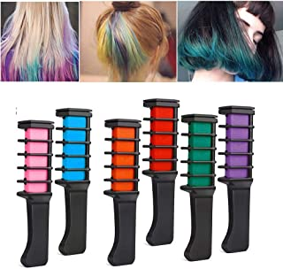 Hair Chalk Comb Set, Girl Kid Christmas Birthday Gift, Temporary Hair, Non Toxic Washable Dye Color for Teen Party, DIY 6 Colorful Kit